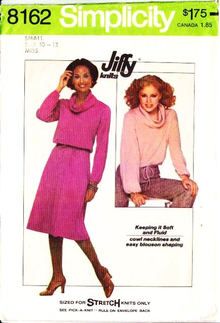 Simplicity 8162, Cowl Neck Pullover Top & Skirt Sewing Pattern
