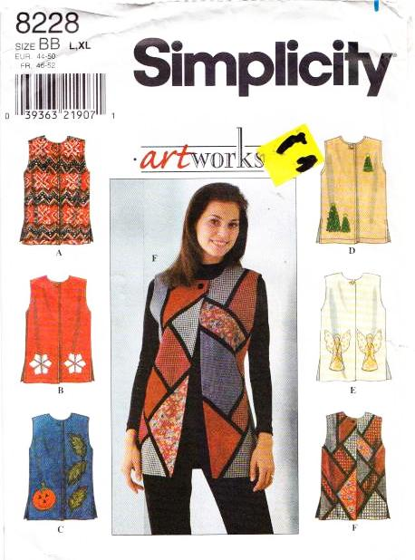 Simplicity 8228, Vest, Sewing Pattern