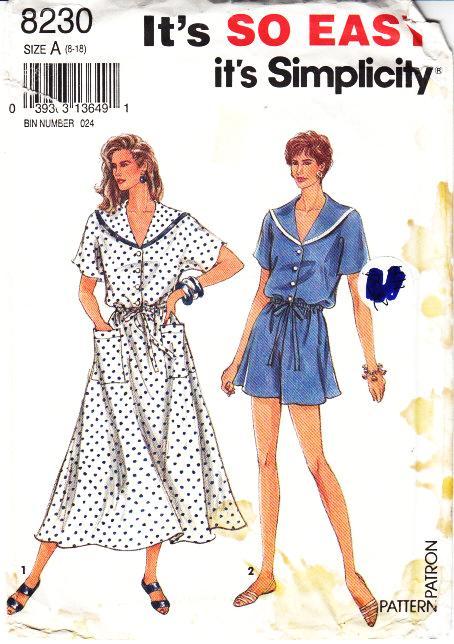 Simplicity 8230 Full Skirt Dress, Jumpsuit Sewing Pattern