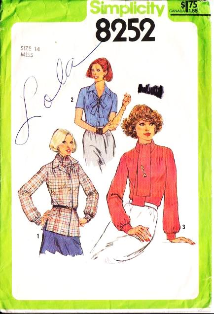 Simplicity 8252, Ascot Blouse, Bow, Button Front Shirt Sewing Pattern