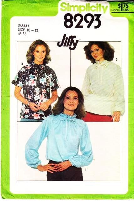 vintage, sewing, pattern, Simplicity 8293, High Neck, Blouse, Flutter Sleeve