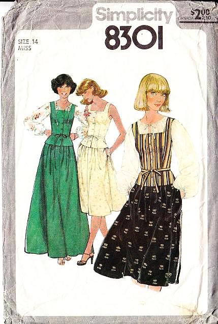 Simplicity 8301 Bohemian Square Neck 1970s Peasant Camisole Top