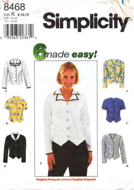 Simplicity, 8468 Button Front Blouse Sewing Pattern