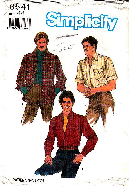 Simplicity 8541 Mens Shirt Sewing Pattern