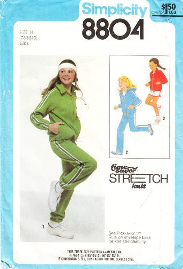 Simplicity 8804 Girls Hoodie, Sweatpants & Shorts Sewing Pattern