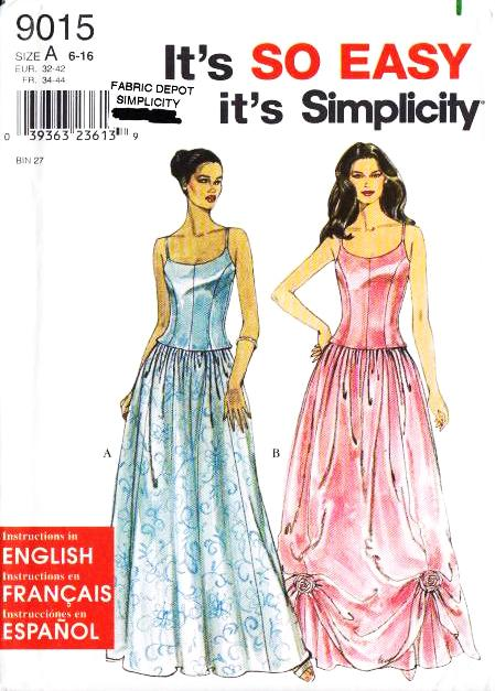 Simplicity, 9015, Prom Dress, Sewing Pattern