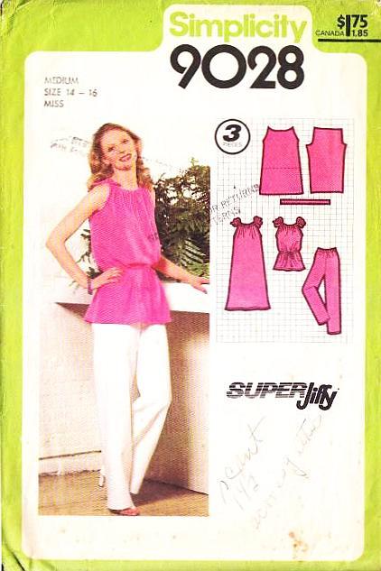 Simplicity 9028 Jiffy Drawstring Strap Tunic, Dress & Pants Sewing Pattern