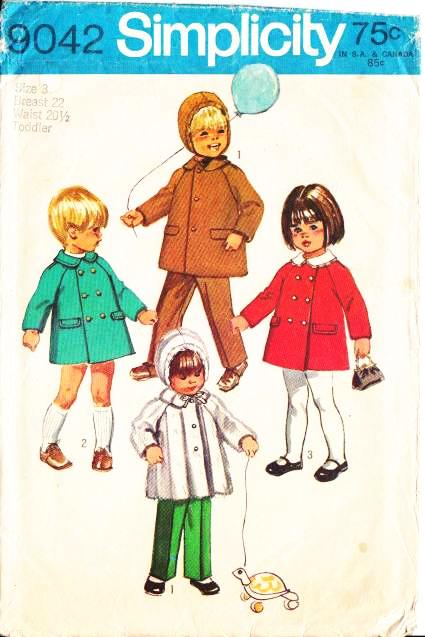 Simplicity 9042 Toddler Coat Sewing Pattern