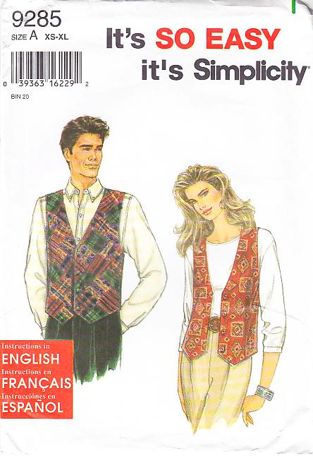 Simplicity 9285 Unisex Vest Sewing Pattern