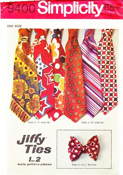 Simplicity 9400 Jiffy Wide Ties Sewing Pattern