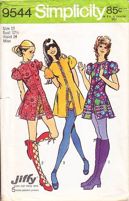 Simplicity 9544 Groovy 70s Mini Dress Sewing Pattern