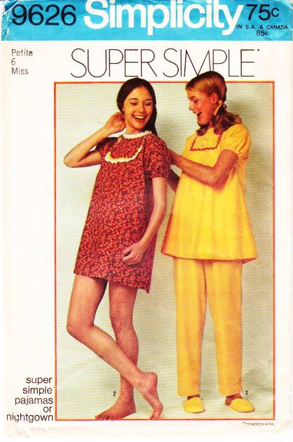 Simplicity 9626 Misses Pajamas, PJs, Nightgown Sewing Pattern