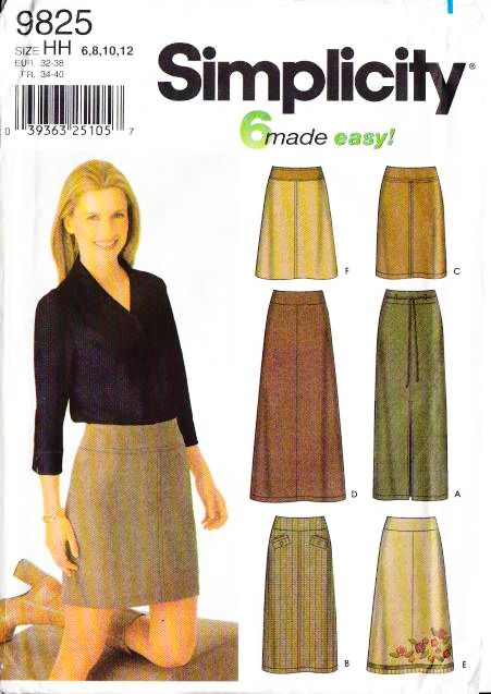 Simplicity 9825, Skirt, Sewing, Pattern