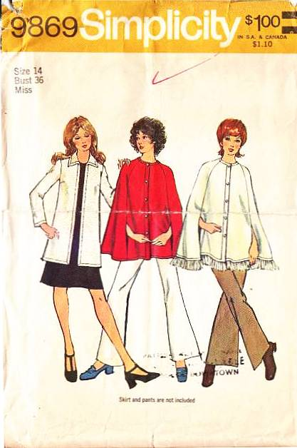 Simplicity 9769, Cardigan, Cape, Sewing Pattern