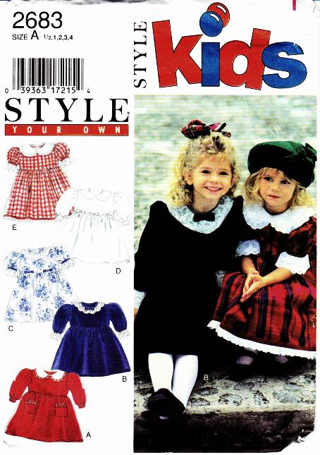 Style 2683 Toddler Dress Sewing Pattern