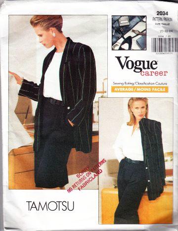 Vogue 2034 Tamotsu Career Blazer Jacket Tapered Pants Pe