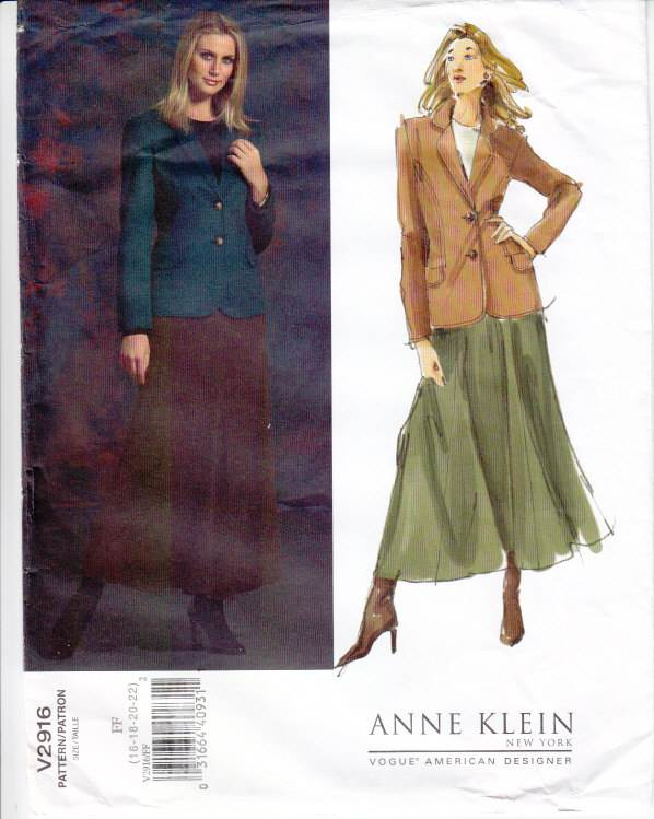 Vogue 2916, jacket, skirt, sewing pattern