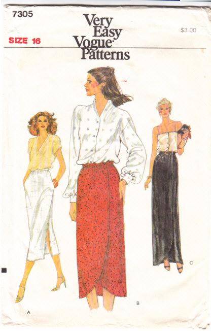 Vogue 7305 Straight Side Slit Or Tulip Slit Skirt Sewing Patte