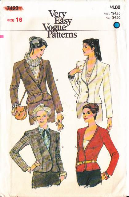 Vogue 7423, Vintage, Sewing, Pattern, Fitted Jacket