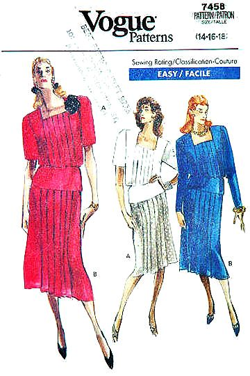 Vogue 7458 Square Neck Top & Pleated Skirt Sewing Pattern