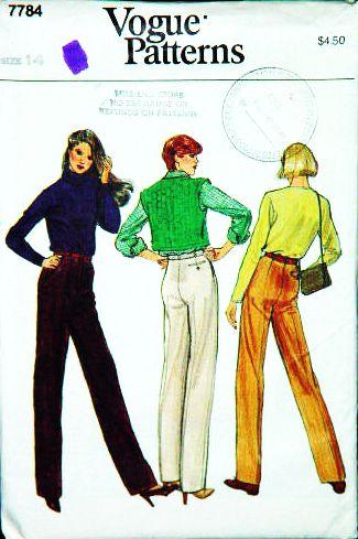 Vogue 7784 Misses Slim, Straight Legged Pants Sewing Pattern