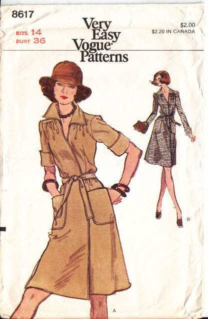 Vogue 8617, Vintage, Sewing, Pattern, Wrap Dress