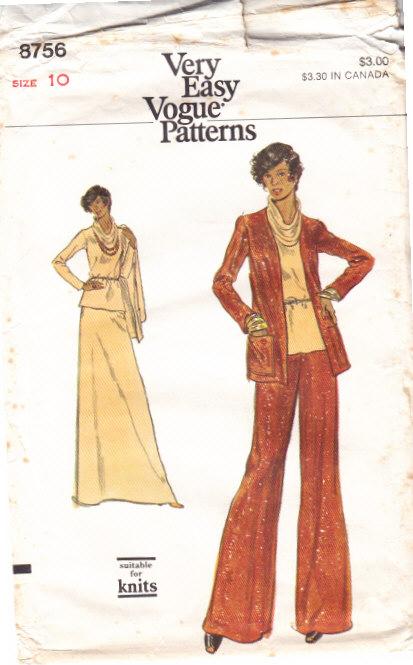 Vogue 8756 Cowl Neck Top, Jacket, Skirt & Pants Sewing Pattern