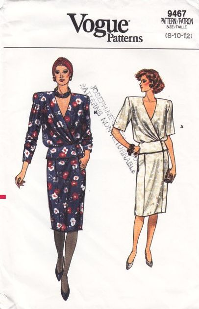 Vogue 9467 Wrap Top Pencil Skirt Sewing Pattern