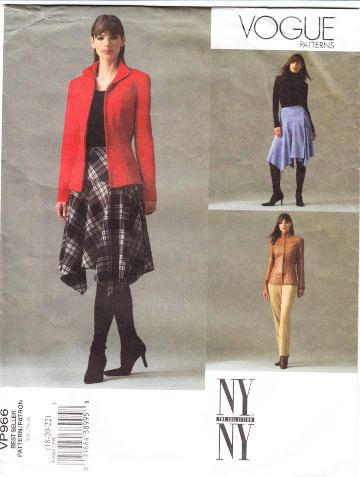 Vogue P966 Misses Fitted Jacket, Handkerchief Hem Wrap Skirt & Pants Sewing Pattern