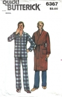 Butterick 6367 Men's Pajamas & Robe Sewing Pattern S 34-36 Uncut