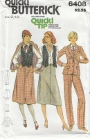 Butterick 6408 Jacket, Vest, Skirt, Pants Sewing Pattern Juniors 9/10 B30 Uncut