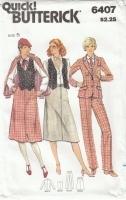 Butterick 6407 Jacket, Vest, Skirt, Pants Sewing Pattern 70s Junior  5 B31 Uncut