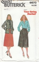 Butterick 6670 Junior Jacket, Blouse, & Skirt Sewing Pattern 11 B33 Uncut