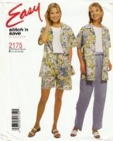 McCalls 2175 Shirt, Tank Top, Pull-on Pants & Shorts Sewing Pattern 14-20 B36-42 Uncut