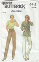 Butterick 6412 Jacket, Pants, Top Sewing Pattern 8 Uncut