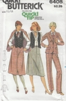 Butterick 6408 Jacket, Vest, Skirt, Pants Sewing Pattern Juniors 11/12 B32 Uncut
