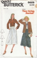 Butterick 6669 Jacket, Blouse, Flared Skirt Sewing Pattern 14 B36 Uncut