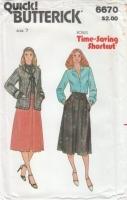 Butterick 6670 70s Junior Jacket, Blouse, & Skirt Sewing Pattern 7 B31 Uncut