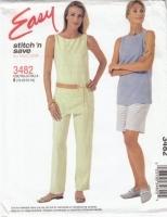 McCalls 3482 Sleeveless Tunic Top, Pull-on Pants & Shorts Pattern 18-24 B40-46 Uncut