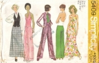 Simplicity 5409 1970s Groovy Halter Top, Wide Leg Pants, Maxi Skirt & Blouse Sewing Pattern 12 B34 Used