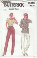 Butterick 6413 Jacket, Pants, Top Sewing Pattern Juniors 7 B31 Uncut