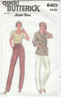 Butterick 6413 Jacket, Pants, Top Sewing Pattern Juniors 9 B32 Uncut