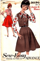 Advance 3030 Blouse Top Skirt Weskit Vest Pattern 60s 14 B34 New