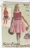 Advance 3133 Girls Blouse Top Skirt Sewing Pattern 60s 12 B30
