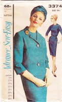 Advance 3374 60 Wiggle Dress and Jacket Pattern 24.5 B45