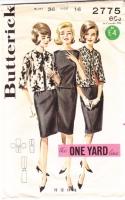 Butterick 2775 60s One-Yard Jacket, Blouse, Skirt Sewing Pattern 16 B34