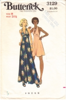 Butterick 3129 70s Halter Dress Sewing Pattern 8 B31 No Instructions