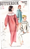 Butterick 3303 60s Night Gown or PJs, Pajamas Sewing Pattern 10 B32 Uncut