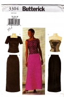 Butterick 3304 Two-Piece Evening Dress, Top, Skirt Sewing Pattern 14-18 B36-40 Uncut