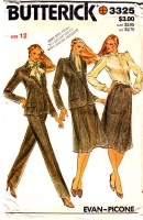 Butterick 3325 70s 80s Fitted Jacket Blazer, Pants, Pussycat Bow Blouse, Flared Skirt Pattern 12 B34